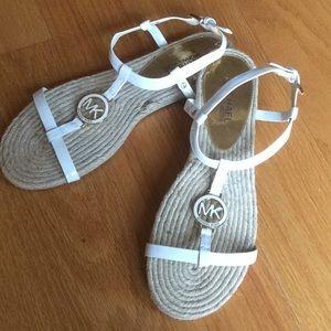 Michael Kors white sandals. Never worn.  L👀K!!